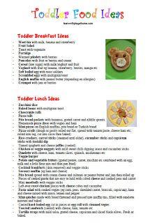 Toddler Food Ideas. Breakfast, Lunch & Snacks - nice printable