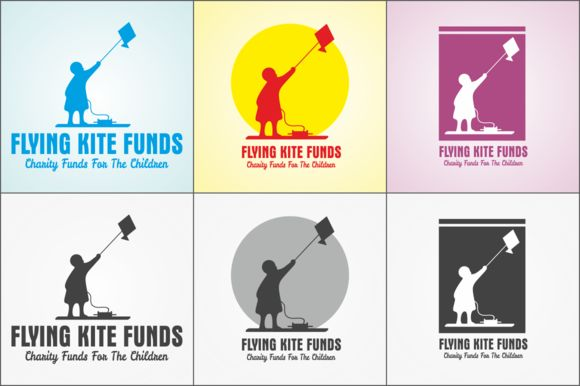 Flying Kite Charity Funds Logo by BHARAT GRAPHICS on Creative Market