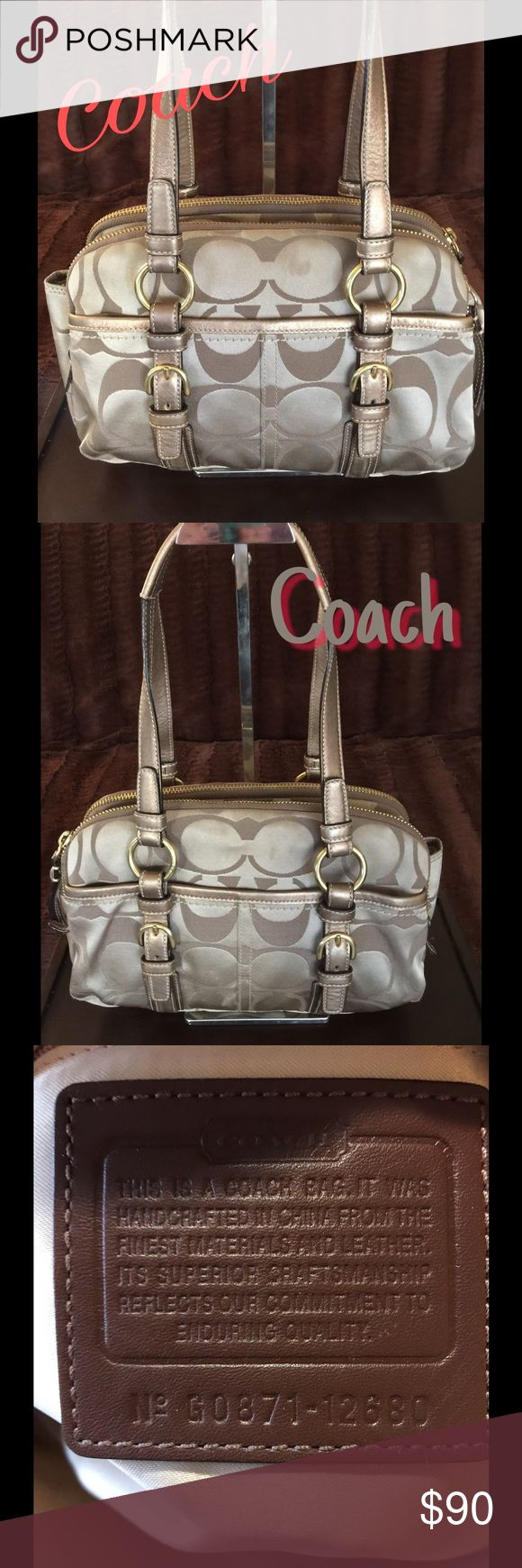 Coach Satchel No Trades Soho Signature C Sateen Bag in Gold/Tan. Features 2 Straps, Double zippers, 3 compartments and 2 outside pockets. Pre-loved. Shows minor signs of wear which are mostly a few soil spots. I have not tried to clean, but it would be an easy job.  The lining is tan satin. Very good condition with a couple of little spots.  Overall, this bag is an 8 out of 10.  💯% Authentic Coach Bags Satchels
