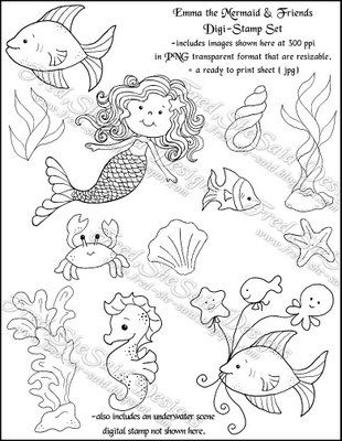 Fred, She Said Designs .... The Store: Emma the Mermaid & Friends - Digital Stamp SET