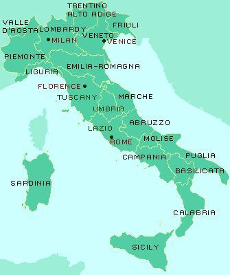 Vamos para Itália > As Regiões da Itália - Guia das regiões italianas -Toscana, Sardenha, Veneto, Emilia- Romana, Lázio, Calábria, Ligúria, ...