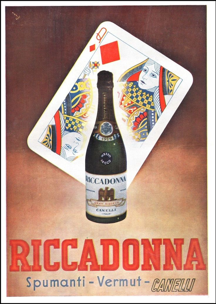 Pubblicita' Spumanti Vermout Riccadonna Canelli Bottiglia Donna Quadri Carta 40