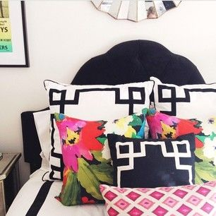 Obsessed with how @devonrachel used multiple patterns and prints to spice up her bedding. LOVE!