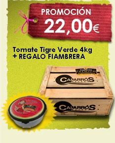 ¡Tomate Tigre Verde en Promoción!  Regalo de una fiambrera de Sandía Caparrós Premium.  www.saboresnaturales.es