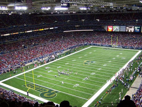 Inside the Dome during a Rams game
