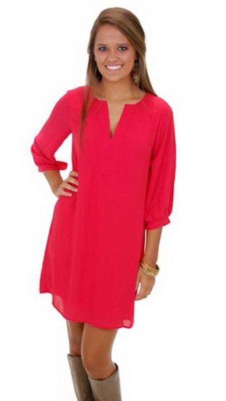 Awesome Red tunic dress 2018-2019
