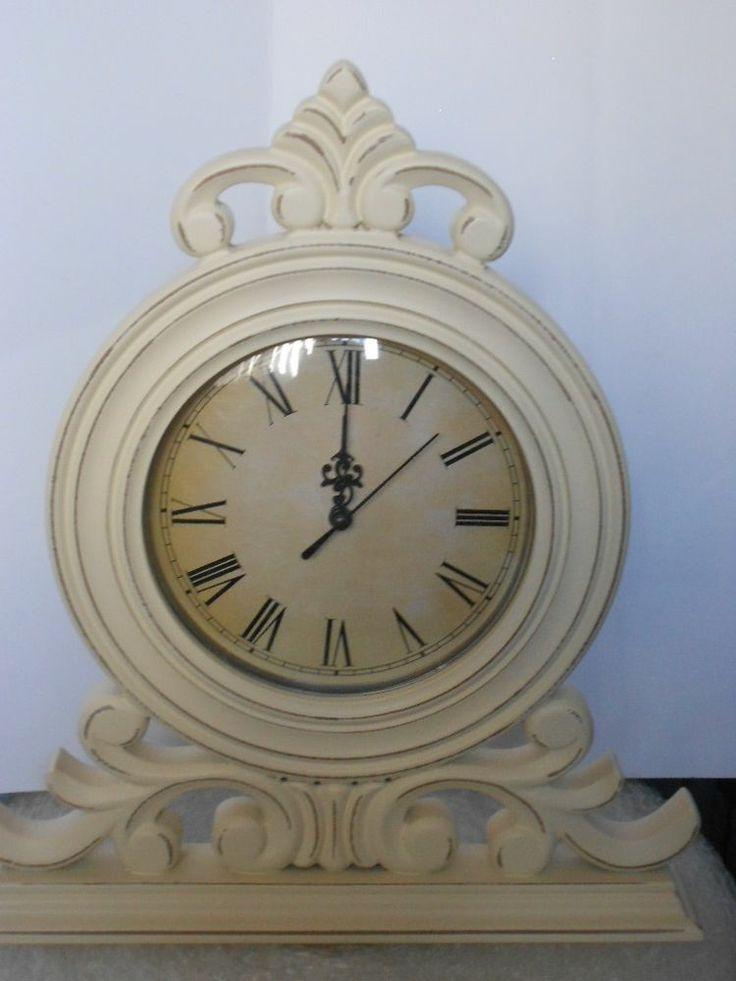 Stunning Large Cream Shabby Chic Mantel Clock Living Room