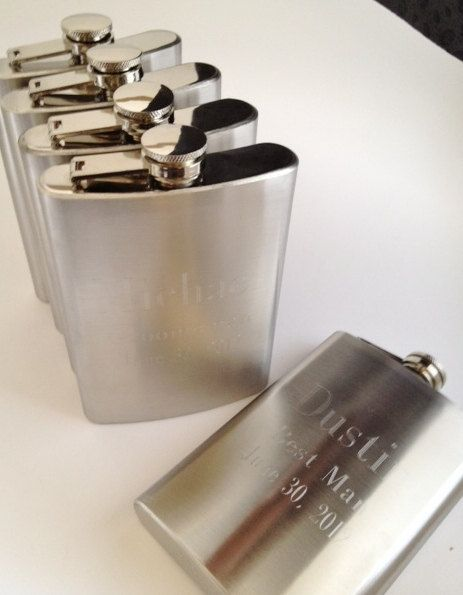 Five Engraved Flasks for Groomsman Gifts - Monogrammed or Messge for Wedding Party. $76.00, via Etsy.
