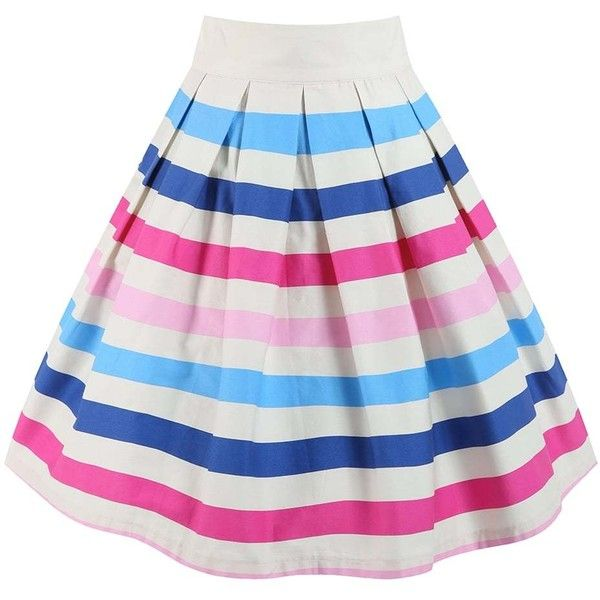 'Tippi' Ice Cream Stripe Swing Skirt ($37) ❤ liked on Polyvore featuring skirts, cream, knee length pleated skirt, striped skirt, striped cotton skirt, striped pleated skirt and swing skirt