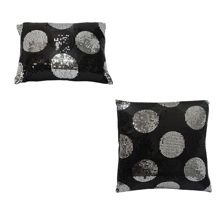 Sequined Black Silver Filled Cushion