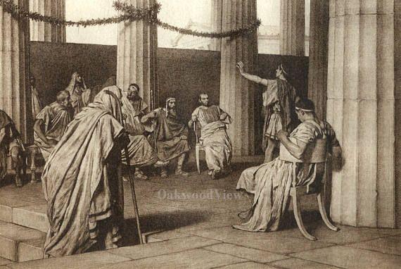 The Trial by Tito Lessi, Antique 10x12 Sepia Engraving c1890s, From The Decameron by Giovanni Boccaccio, FREE SHIPPING $11.75