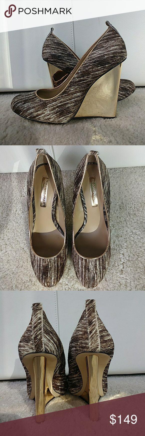 "NEW bcbg maxazria calf hair wedge pumps Adorable calf hair pumps with gold wedge heel   Almond toe  4.5"" high  Brand new in box never worn BCBGMaxAzria Shoes Wedges"