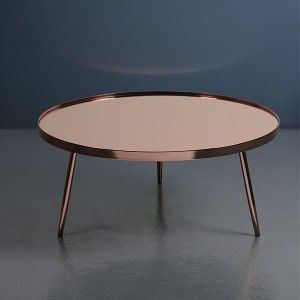 Retro High Gloss Copper Coffee Table | i love retro | This sleek, contemporary coffee table is a real style statement and a must have piece for your living room or conservatory. Made from steel tapered legs and a steel rim with a copper electro plated finish and a copper tinted mirrored table top.