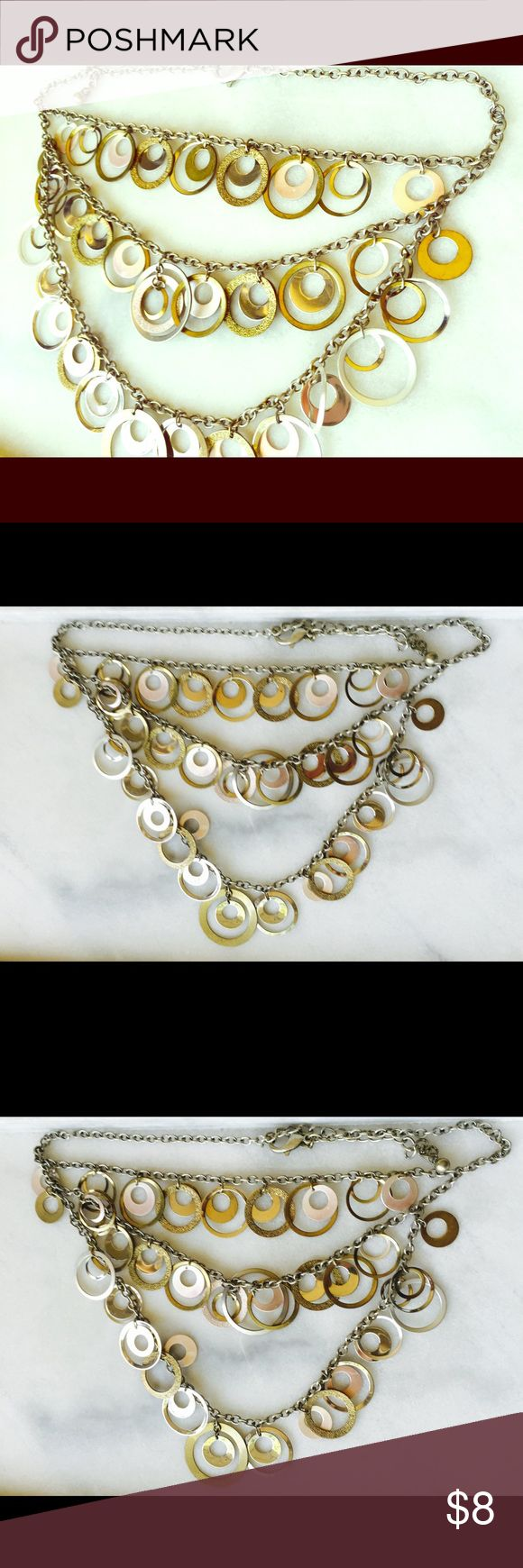 """Chico's 3-Tier Bib Statement Necklace 21"""" long. Bib has 6"""" drop. Super eccentric and unique. Some circles have minor wear but isn't noticeable. Chico's Jewelry Necklaces"""