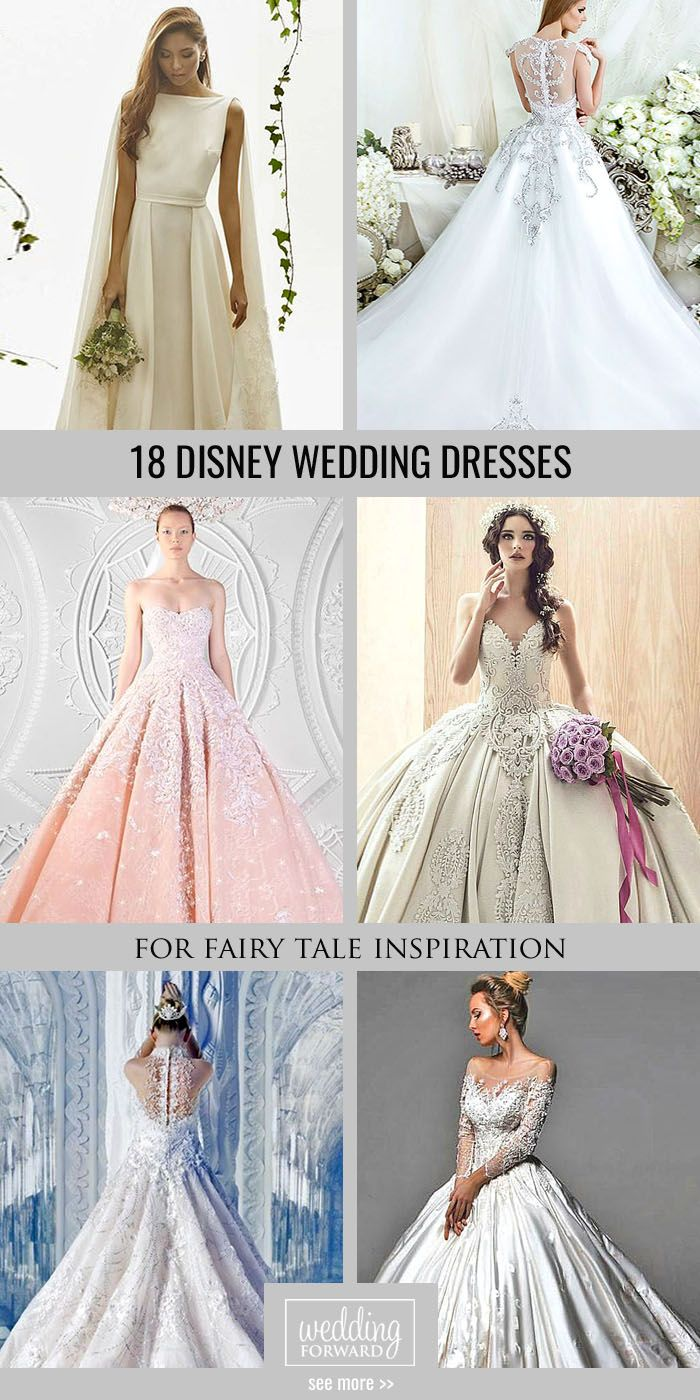 18 Disney Wedding Dresses For Fairy Tale Inspiration ❤ We propose you to see disney wedding dresses which reflect the style and beauty main heroines such as Cinderella, Tiana, Belle. See more: http://www.weddingforward.com/disney-wedding-dresses/ #weddings #dress #disney