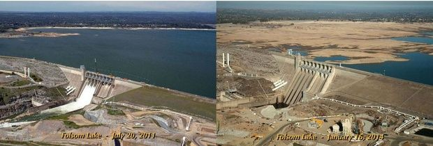 2014: An Epic Year for Climate Change and Other Weather-Related Disasters - CityLab A comparison of water levels at Folsom Lake near Sacramento in 2011 and 2014, courtesy of the California Department of Water Resources.