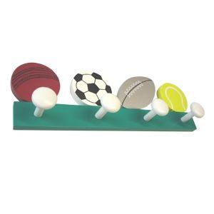 Perchas percheros pared pelotas balones deporte madera - Perchas para ninos ...