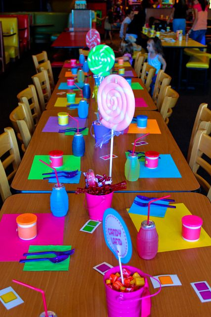 Candy Land Party ~ Use Candy Land colored paper as placemats and mix and match the napkins and plastic ware.