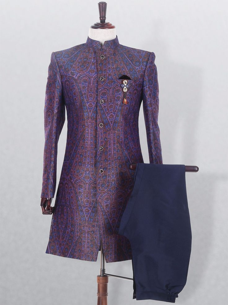Printed Terry Rayon Mens Party Wear Violet Indo Western