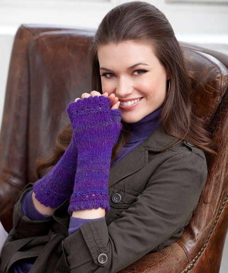 Diese Stulpen halten ihre Hände warm und der Spitzen-Picotrand verleiht einen femininen Touch.