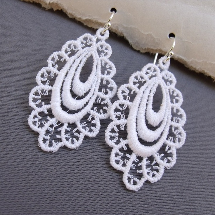 White Lace Earring with Sterling Silver Ear Wires (Model S) Under 25 USD. $23.00, via Etsy.