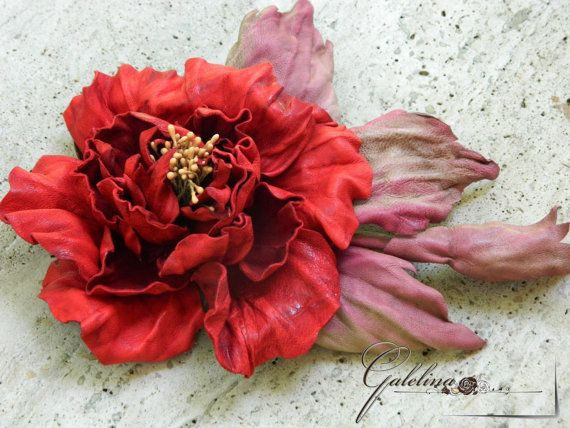 LEATHER RED ROSE  pin brooch hairclip  hat by Galelina on Etsy