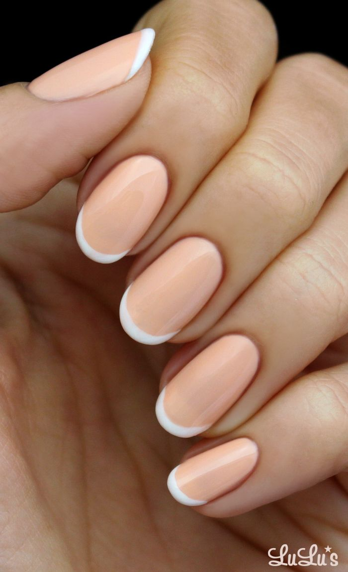 Peach and White French Nail