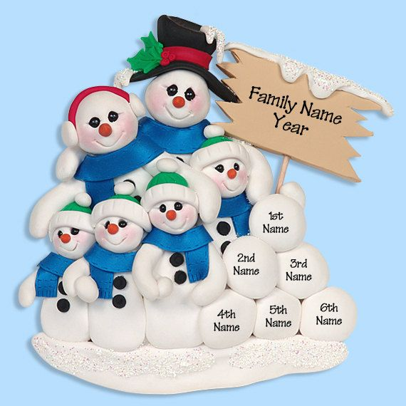 Snowman Family of 6 HANDMADE POLYMER CLAY Personalized Christmas Ornament on Etsy, $14.95