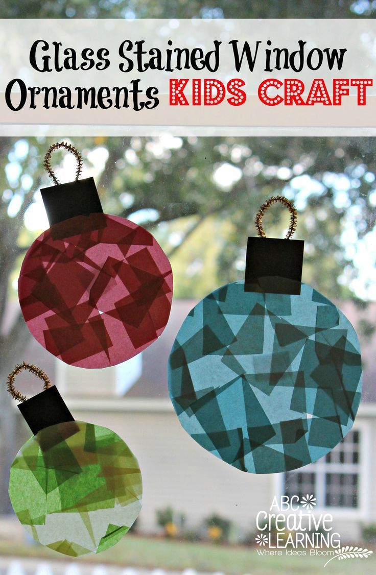 Glass Stained Window Ornaments Kids Crafts for Toddlers and Kids! Great for Christmas decorations and Fine Motor Skills practice!