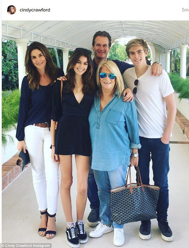 Matchy matchy: Cindy Crawford shared a cute family photo where they all coordinated in blue and white ensembles