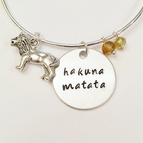 Hakuna Matata Timon Pumbaa Simba Nala Disney Lion King Inspired Stamped Adjustable Bangle Charm Bracelet #thelionking #disney #disneyinspired #priderock #simba #nala #timon #pumbaa #hakunamatata #stamped #adjustablebangle #charmbracelet