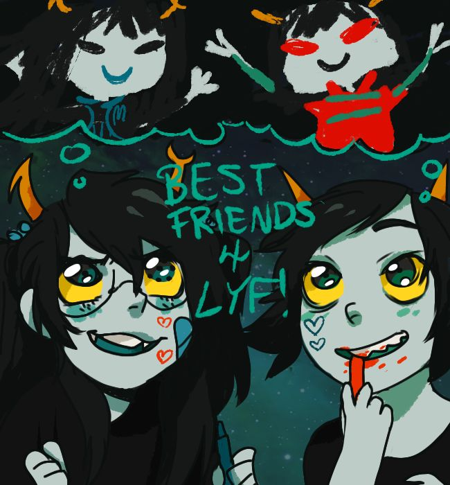 Vriska and Terezi as kids, by pancakestein. I always though of Terezi and Vriska as best friends with slightly red feelings for one another <3