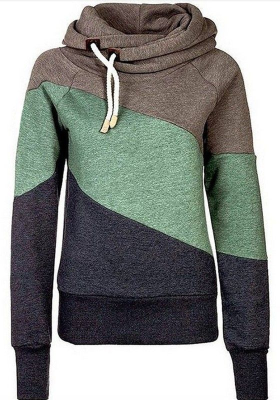 Khaki Color Block Drawstring Casual Hooded Sweatshirt