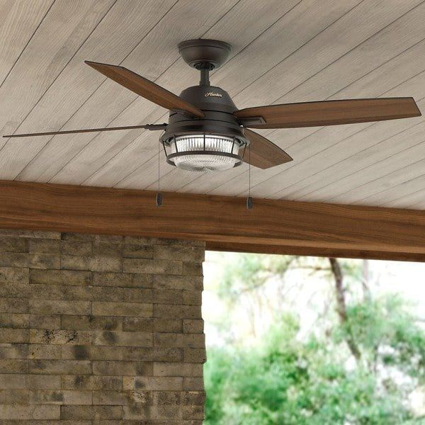 Hunter Ocala Noble 52 Inch Bronze Fan With 4 Black Willow Maple Reversible Blades Ceiling Fan Outdoor Ceiling Fans Fan