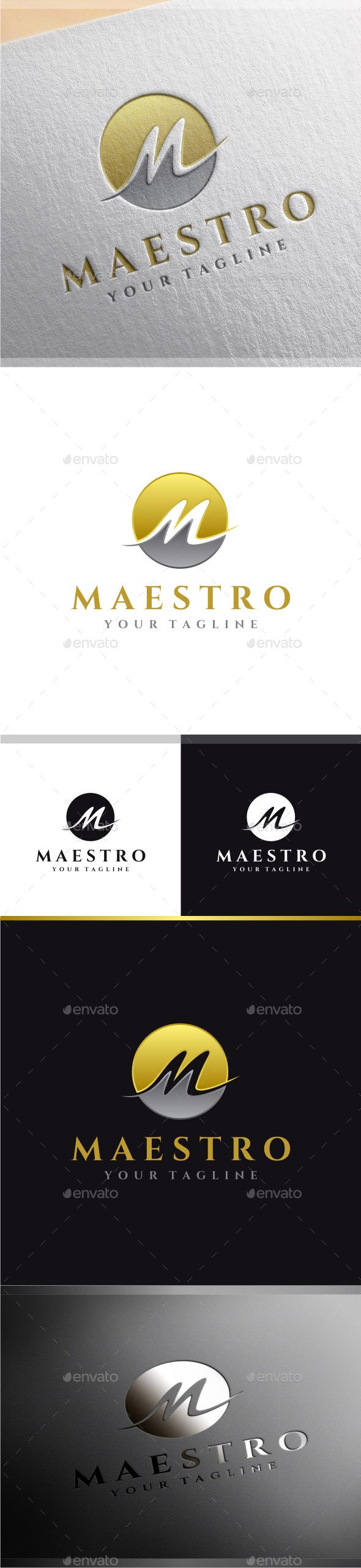Maestro  Letter M Logo — Photoshop PSD #silver #design • Available here → https://graphicriver.net/item/maestro-letter-m-logo/8990017?ref=pxcr