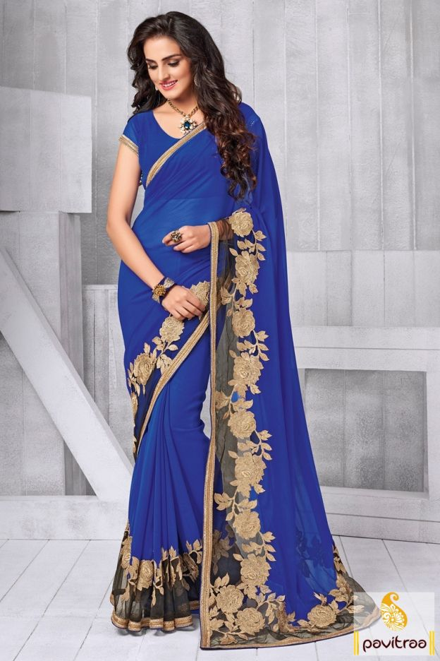 Mesmerizing blue color chiffon net embroidery saree online shopping at very reasonable price in India. Purchase this gorgeous chiffon party wear saree online with pay COD in India #partywearsaree, #partysaree, #designerpartysaree, #chiffonpartysaree, #designersaree, #embroiderypartysaree, #discountoffer, #pavitraafashion, #utsavfashion, #onlinesareeshopping, #printedpartysaree, #netpartysaree, #bluepartysaree http://www.pavitraa.in/store/embroidery-saree/ callus:+91-7698234040