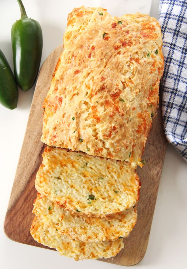 Jalapeno Cheddar Quick Bread  //  Fresh bread ready in 1 hour.  No kneading or rising required!