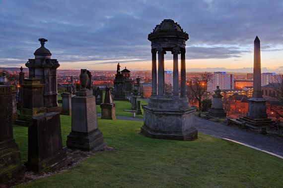 Glasgow, Scotland. Fifty thousand bodies are buried in the 37 acres of the Glasgow Necropolis which sits on a hill adjacent to the Glasgow Cathedral. Monuments of every architectural style are here, designed by major architects and sculptors of the time, including Alexander 'Greek' Thomson, Charles Rennir Macintosh and JT Rochead.