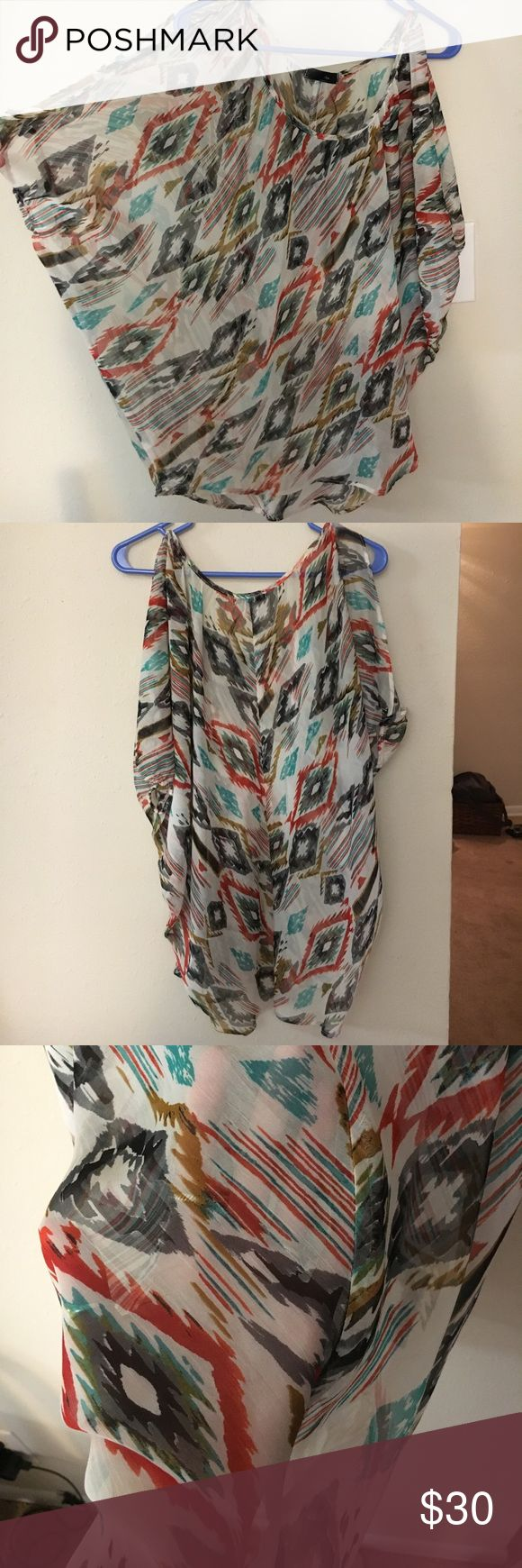 Multi colored, cold shoulder top Sheer. Can be worn as a cover up Tops Blouses