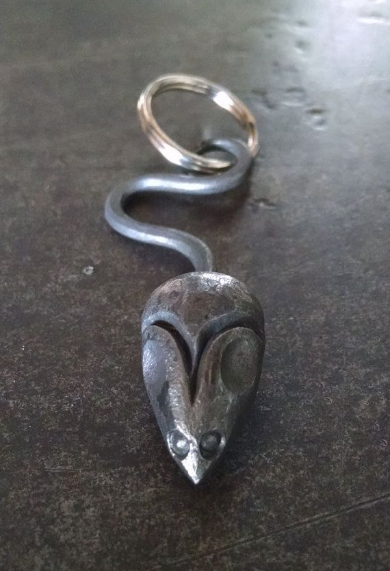 Hand forged iron keychain mouse with keyring von TCIron auf Etsy