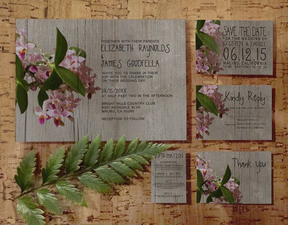 Rustic Phalaenopsis Orchid Wedding Invitation by InvitationSnob
