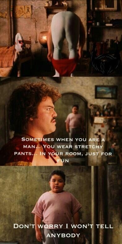 Nacho Libre imparts his wisdom to little Choncho.