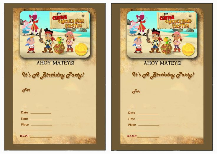 Jack and the Neverland Pirates FREE Printable Birthday Party Invitations