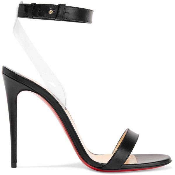 Christian Louboutin Jonatina leather and PVC sandals ($795) ❤ liked on Polyvore featuring shoes, sandals, heels, black, strappy sandals, strappy heeled sandals, black ankle strap sandals, strappy high heel sandals and high heeled footwear