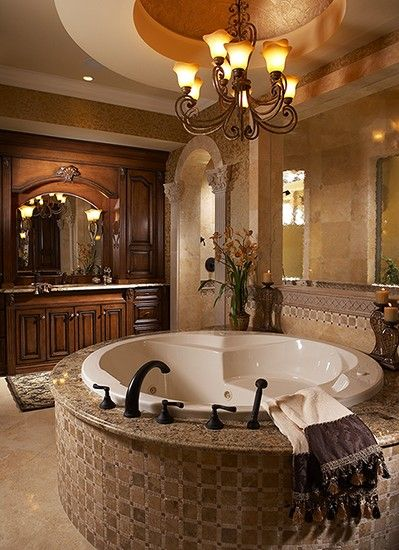 Master bath. High ceilings. Chandelier. Stand-alone tub. Gorgeous!