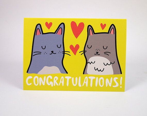 Cat congratulations card - congratulations Card  This cute greetings card features my original cat illustrations with hand drawn text on a yellow
