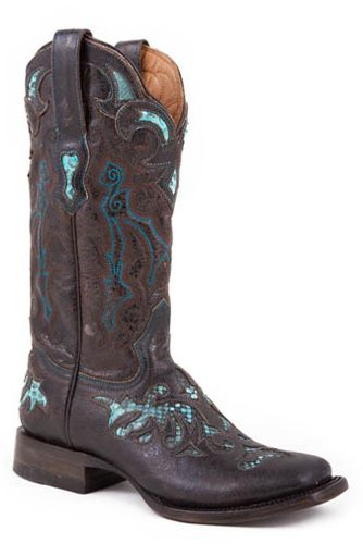 square+toe+cowboy+boots+for+women | Womens Stetson Brown/Turquoise Python Square Toe Cowboy Boots | AA ...