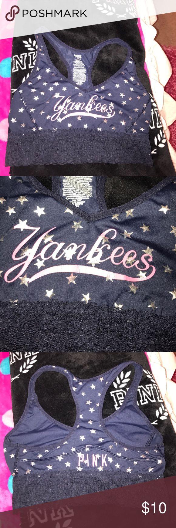 Pink Victoria's Secret sports bra Yankees baseball light support no padding PINK Victoria's Secret Intimates & Sleepwear Bras