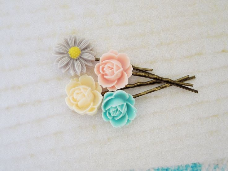 Flower bobby pins pink cream lilac turquoise by TwinkleShineKnits