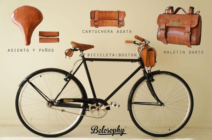 Belosophy: ride with style. Belosophy Boston. Bicicleta. Bicycle. Accesorios. Boslos. Alforjas. Asiento y puños de cuero. leather accessories. www.belosophybikes.com